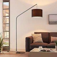 Viskan black floor arc lamp with fabric shade