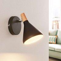 Black LED wall lamp Arina with wood