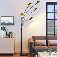 Five bulb floor lamp Muriel in black
