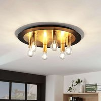 Justik metal ceiling light  six bulb  black