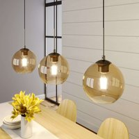 Lindby Sofian hanging lamp  three bulb  amber