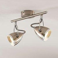Lindby Jadon LED ceiling spot nickel 2 bulb