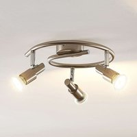 ELC Farida LED ceiling lamp  nickel  3 bulb