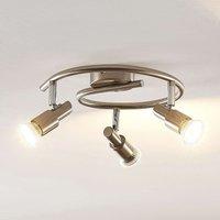 ELC Farida LED ceiling lamp  nickel  3 bulb