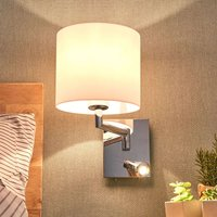 White fabric wall light Phillis with reading arm