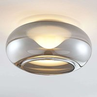 Glass LED ceiling lamp Mijo in smoky grey