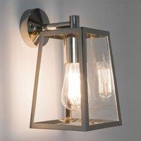 Calvi Outside Wall Light Lantern Shaped Nickel