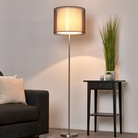 Nica   Floor lamp with fabric shade in brown