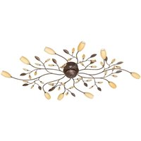 Grosseto long  ten bulb ceiling lamp in brown