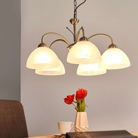 Milanese antique brass pendant lamp  5 bulb