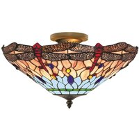 Dragonfly   Tiffany style ceiling light