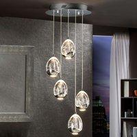Rocio hanging lamp 5 bulb remote  chrome  round