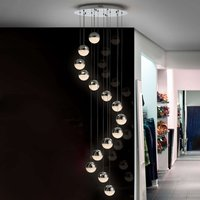 Sphere LED pendant light  14 bulb  chrome