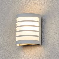 Calin white outdoor wall light with a striped look