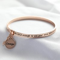 'Be Brave' Meaningful Word Bangle in Rose Gold