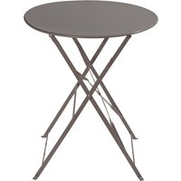 'Metal Folding Garden Table In Taupe D 58cm Guinguette
