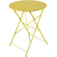 'Metal Folding Garden Table In Yellow D 58cm Guinguette