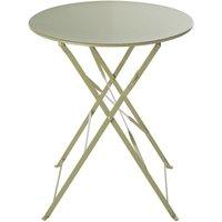 'Round Sage Green Metal Folding Garden Table D58 Guinguette