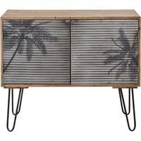 'Solid Pine And Grey Palm Tree Print Metal 2-door Sideboard Santa Cruz