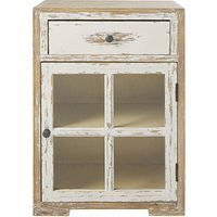 'White Solid Pine And Glass 1-door 1-drawer Bedside Table Kinfolk