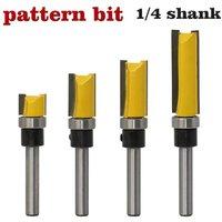 1/2 Diameter Flush Trim Pattern Router Bit Set Wood Bearing Milling Cutter Set with 1/4 Inch Shank Flush Trim Bit