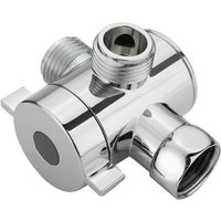 1/2 Inch 3-Way T-adapter Bath Shower Head Arm Mounted Diverter Valve Tap - ASUPERMALL