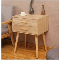 1 Nordic minimalist bedside table two drawers wood color 45 * 35 * 59.5cm - DAZHOM