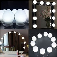 1 pcs LED Mirror Light Kit, Cosmetic Mirror Lamp with 10 Brightness Steps and 3 Color Modes, 10 LED Mirror Makeup Lamp USB Hollywood Style Lamp (Mirror