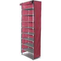 10 Levels Shoe Rack Cupboard Closet Cabinet Storage Shoe Red