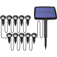 10 Pack Solar Path Stake Lights Outdoor Christmas Decorative Lights Waterproof Copper Wire In-Ground Fairy Lamp for Wedding Party Yard Walkway Patio