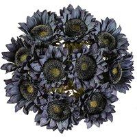 10 Pcs Artificial Sunflowers Single Stem Rustic Fake Flowers for Farmhouse Room Home Hotel Decor(blue)