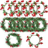 10 Pieces Christmas Candle Ring Artificial Berry Candle Rings with Small Berry for Home, Wedding, Living Room, Bedroom and Christmas Holiday Table