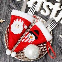 Zqyrlar - 10 Pieces Christmas Cutlery Holder, Snowman Santa Fork Spoon Knife Pockets Tableware Bags, Santa Hat Pockets, for Kitchen Table Decoration