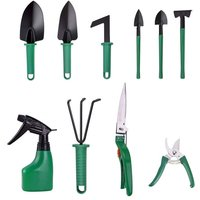 10 Pieces Garden Tool Set Heavyt Duty Gardening Tools with Non-Slip Handle Metal Garden Gadget Kit Contains Pruner Rake Shovel Spray Bottle Weeding