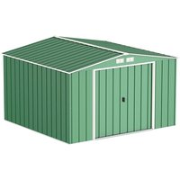 10 x 10 Value Apex Metal Shed - Green (3.22m x 3.02m)