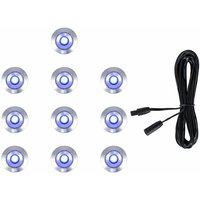 10 x 15mm LED Round IP67 Garden Decking Lights Kit - 3M Extension Cable - Blue - MINISUN