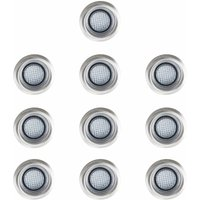 10 x 40mm LED Round Garden Decking Lights Kit - IP67 - Blue - MINISUN