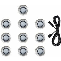 10 x 40mm LED Round IP67 Garden Decking Lights Kit - 3M Extension Cable - Cool White - Black