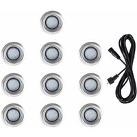 10 x 40mm LED Round IP67 Garden Decking Lights Kit - 3M Extension Cable - Blue - Black