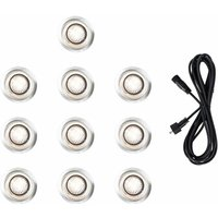 10 x 40mm LED Round IP67 Garden Decking Lights Kit - 3M Extension Cable - Warm White - Black