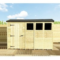 Marlborough(bs) - 10 x 5 **Flash Reduction** REVERSE Super Saver Pressure Treated Tongue And Groove Single Door Apex Shed (High Eaves 74) + 3 Windows