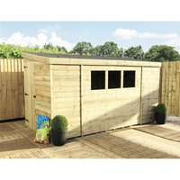 Marlborough(bs) - 10 x 5 Reverse Pressure Treated Tongue And Groove Pent Shed With 3 Windows And Single Side Door + Safety Toughened Glass