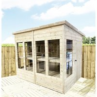 10 x 9 Pressure Treated Tongue And Groove Pent Summerhouse - Potting Shed - Bench + Safety Toughened Glass + RIM Lock with Key + SUPER STRENGTH