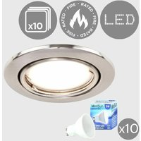 10 x Fire Rated Tiltable Recessed Ceiling Downlights + Cool