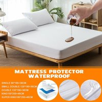 100% Waterproof Bedding Sheet Bedspread Mattress Fitted Sheet Anti-dust Anti-mites Hypoallergenic Waterproof Mattress Cover (Double 135X190X36cm)