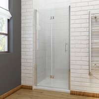 1000 x 1000mm Bifold Shower Enclosure Glass Shower Door Reversible Folding Cubicle Door with Shower Tray - ELEGANT