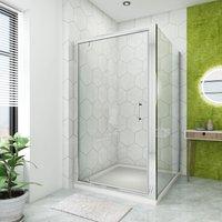 1000 x 700 mm Pivot Hinge Shower Enclosure Glass Screen Door Cubicle with Side Panel - ELEGANT