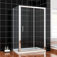 1000 x 700 mm Sliding Shower Enclosure 6mm Glass Reversible Cubicle Door Screen Panel with Shower Tray and Waste + Side Panel