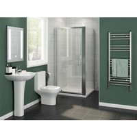 1000 x 760 mm Pivot Hinge Shower Enclosure Glass Screen Door Cubicle with Side Panel