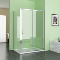 1000 x 800 mm MIQU Sliding Shower Enclosure Cubicle Door with 800 mm Side Panel Corner Entry Easy Clean Nano Glass Screen - No Tray